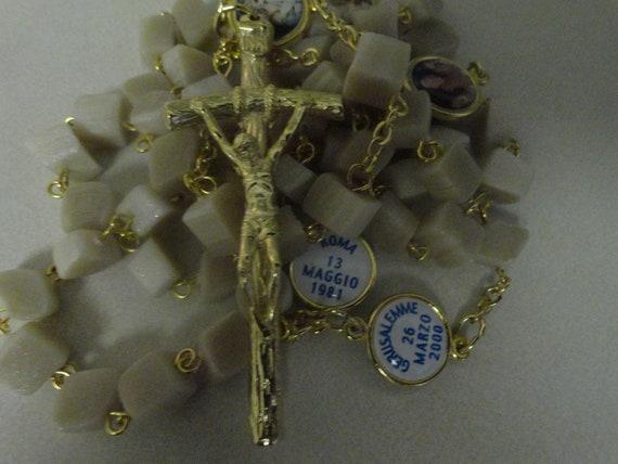 Handmade Square Bead Rosary-Blessed Pope John Paul