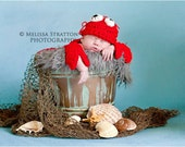 Newborn baby lobster crab  hat and cape set  Newborn photo props photography