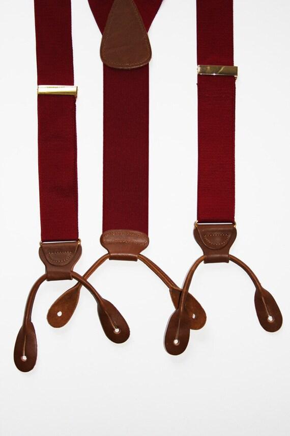 Red Red Trafalgar Button Tab Suspenders