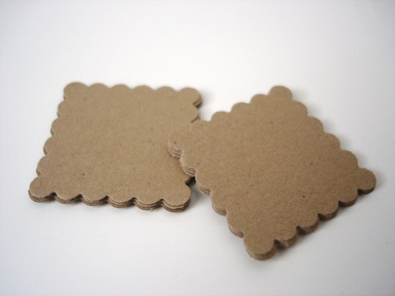 50 Kraft Scalloped Square Tags Scrapbook Embellishments - No724