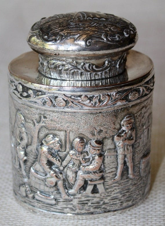 Vintage Tea Caddy - Repousse Silver Plate - Webster Mfg. Company