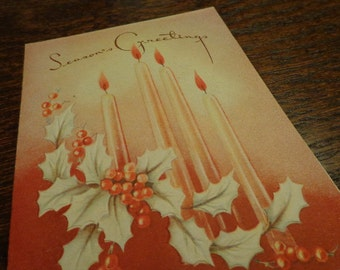 Deco Ambiance Candle & Holly, Season's Greetings, 1950s Christmas card, embossed, See FAUX candlelight IDEA,   MANY in shop