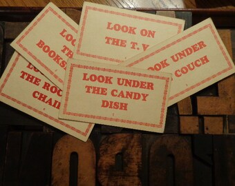 U PICK 1 Lg  Letterpress 1950s graphic  sentence cards, Red & Cream CLUES for Christmas Scavenger, gifts from Santa, IDEAS