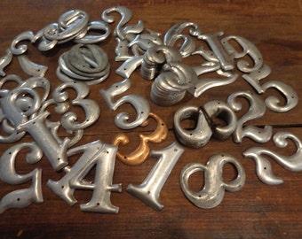U Pick One  Letterpress Style Vintage Metal Numbers,  table numbers  storage, keepsake gift tags mixed media matte silver hue 3 D industrial