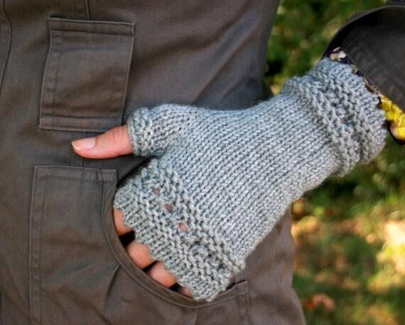 Eyelet Fingerless Gloves in Heathered Grey - Ready to Ship