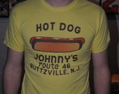 Vintage Hot Dog T-shirt, Yellow, Size Small