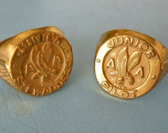 REDUCED 1950's American Airlines Pilot and Stewardess Souvenir rings