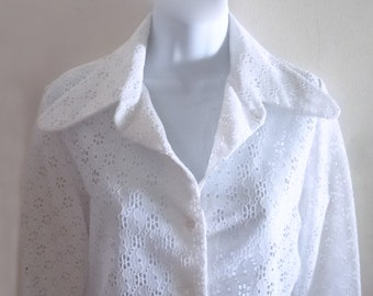 1960's -70's MOD White Eyelet See-Through Blouse