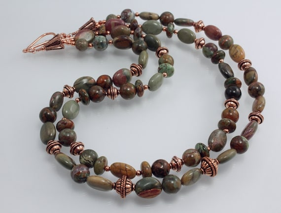 "Green ""Opal"" Necklace With Picasso Jasper and Copper, Two Strand"