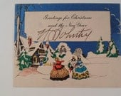 Vintage  Art Deco Style Christmas Postcard  Greeting Card of Women in Bonnets   in woods with  snow