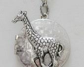 Giraffe Locket Necklace Vintage Style Animal Jewelry