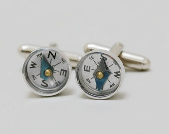 Men's Cufflinks, Working Compass Cufflinks,Steampunk,Antique Silver,Groomsmen,Vintage Style,Gothic Victorian,