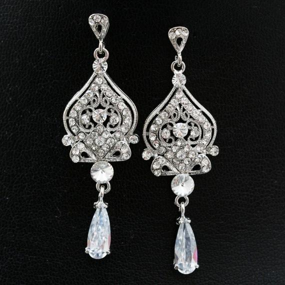 Vintage Style Wedding Bridal Earrings,Rhinestone Chandelier Bridal Earrings,Crystal Chandelier Wedding Earrings