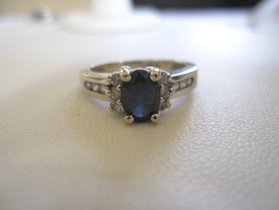Estate Petite Art Deco Style Sapphire & Diamonds 14k White Gold Cathedral Mount Ring