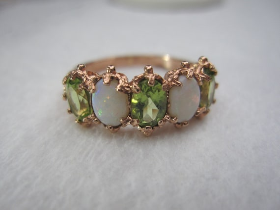 Estate 9k 375 Antique Natural Opal and Peridot Rose Gold Vintage Ring