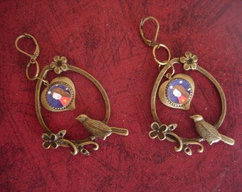 Expecting the Miracle  - Cute Handmade vintage  inspired art Earrings with a heart art charm and a bird