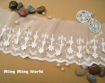 Cotton Net Lace Trim - 2 Yards Ivory Double Flower Cotton Embroidery Lace Trim(L232)