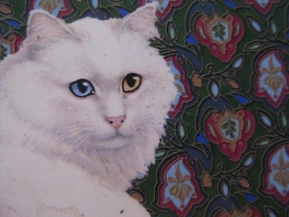 Pair Vintage CERAMIC White Cat Odd Eyed Coasters HALLMARK