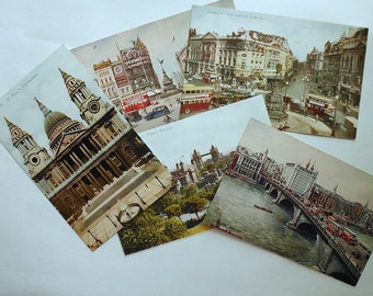 Five Color Postcards-Too Late for the Olympics- London England Landmarks-early 1900s