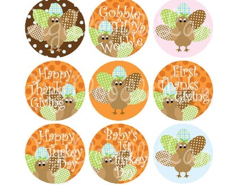Blue Turkey Girl Thanksgiving Bottlecap Images Turkey Bottlecap 1 Inch Circles Bottlecaps Hairbows Jewelry Magnets and More INSTANT DOWNLOAD