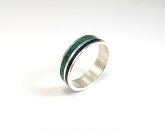 Sterling Silver Ring, Wedding  Band, Blue, Green, Color, Lines, Unisex, Contemporary, Modern, Minimal