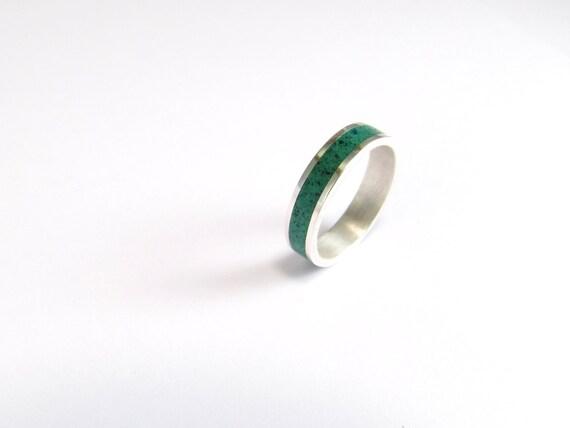 Green Wedding Band, Sterling Silver Ring, Contemporary, Modern, Minimal