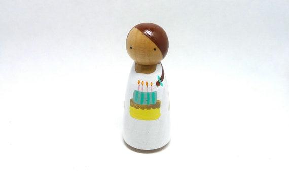 Wooden Peg Doll Birthday Girl