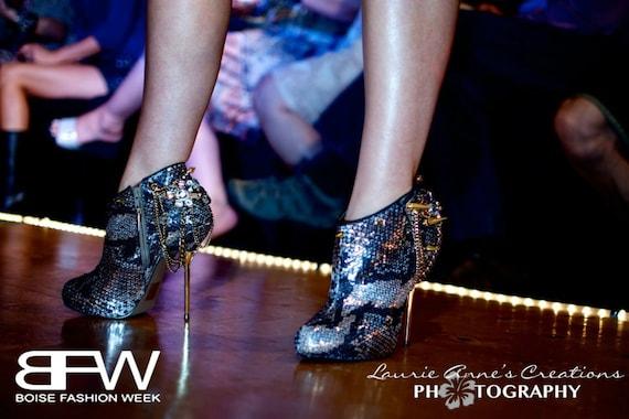 High Heel Platform Spiked Women Booties Snake skin  size 7...A SpikesByG Design