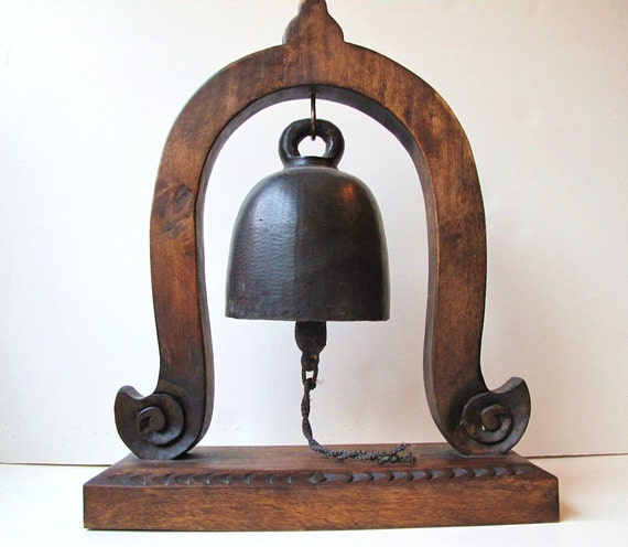 Antique Bronze Elephant Bell on Wooden Stand from Thailand