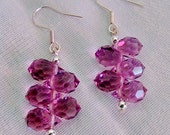 Purple Swarovski Crystal beaded Earrings with Sterling Silver pear shaped - New Years Eve holiday party