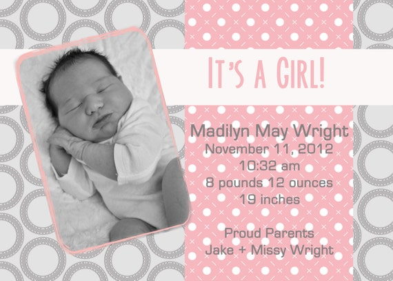 printable birth announcement, baby announcement, print your own, 5 x 7