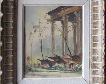 Parisian Souvenir  Mid Century Original Oil Painting M. Janpol