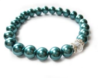 Teal Pearl Sparkle Stretch Bracelet