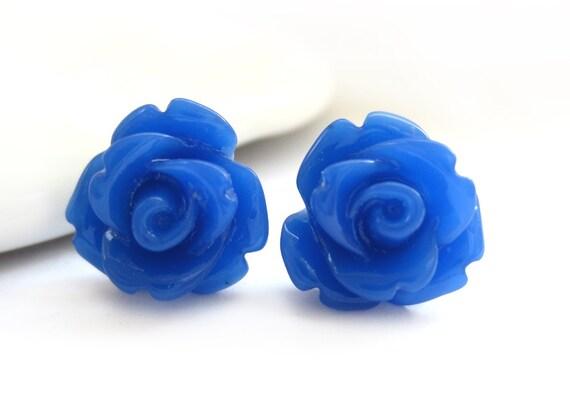 Royal Blue Rose Stud Earrings