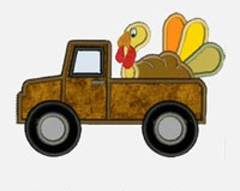 Turkey Truck ...Embroidery Applique Design...Three sizes for multiple hoops...Item1218...INSTANT DOWNLOAD