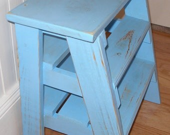Step stool ladder,  blue distressed,  gift idea