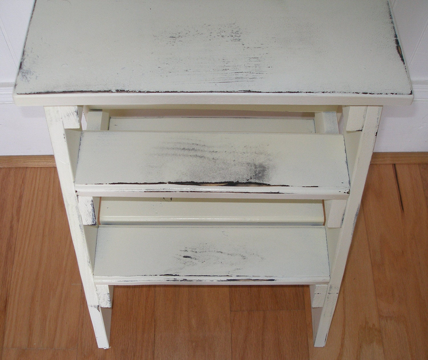 Step Ladder Stool White Distressed Gift Idea