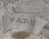 Muslin Paris Vintage Hand Stamped Ribbon on a Wooden Spool With Pearl Stick Pin ECS