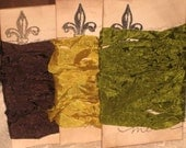 Scrunched Seam Binding ribbon, Crinkled Seam Binding Packaged French Vintage Olive ESC