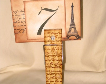 Vintage Inspire French Script Jumbo Wooden Clothes Pin Wedding Table Number Holder Note Holder ECS