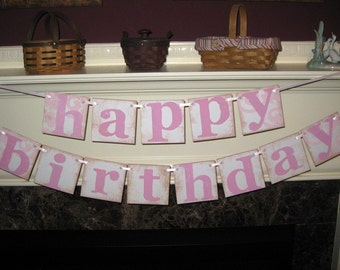 Happy Birthday Double Banner Garland Vintage Sign for Boy Girl Family Adult and Child