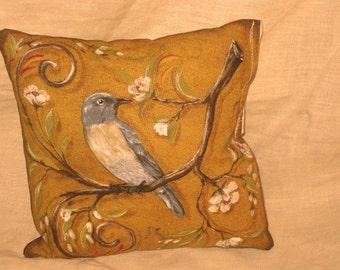 Shabby Chic Fun Throw Pillow with Bird Motif French Market Design Floral Handmade Pillow Mustard Yellow