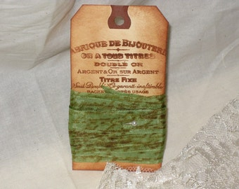 Seam Binding French Script Hand Stamped and Aged Seam Binding Mint Chocolat