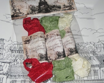 Scrunched Seam Binding ribbon, Crinkled Seam Binding Packaged Traditional Christmas ECS