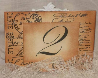 French Vintage Style French Script Carte Postal Luxury Table Numbers/Names Wedding Original Design