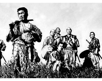 seven samurai print from acrylic painting