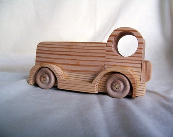 Toy Moving Truck Handmade from Reclaimed Wood for Kids, Children, for Your Collection