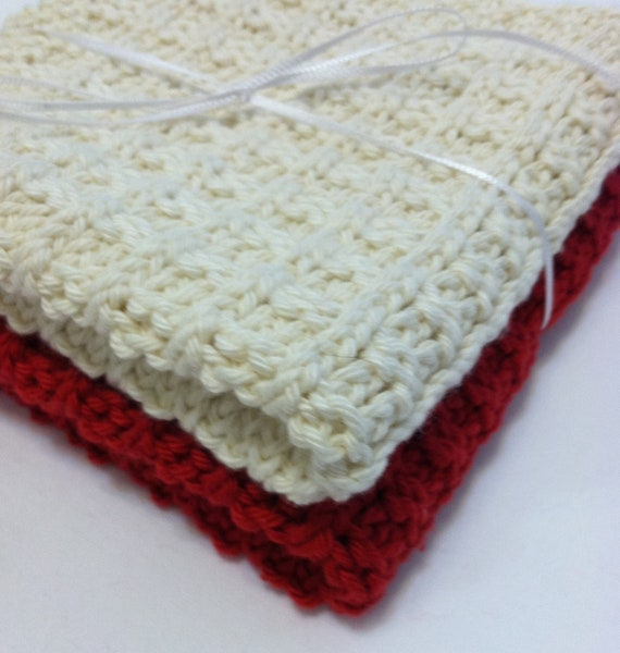 Hand Knit Cotton Wash Cloths in Red and Natural Quiltsy Handmade