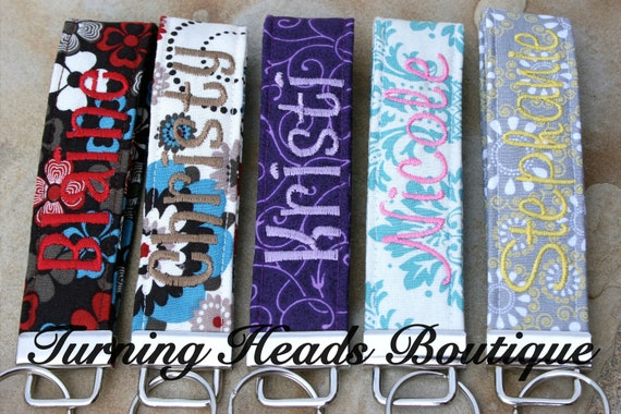 personalized key fob    monogrammed wristlet fabric key chain