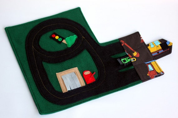 Race Car Track Wallet (holds 3 cars), Fold & Go Travel Toy, Construction Vehicle